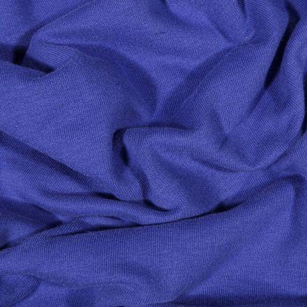 Tissu Jersey Coton envers molletonné uni Bio Bleu roi - Par 10 cm