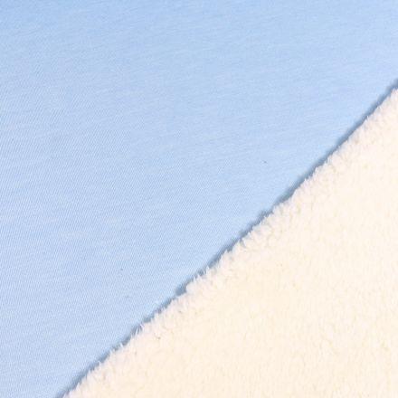 Tissu Sweat envers minky  Bleu ciel