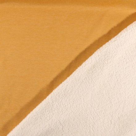 Tissu Sweat  envers minky blanc cassé Moutarde - Par 10 cm