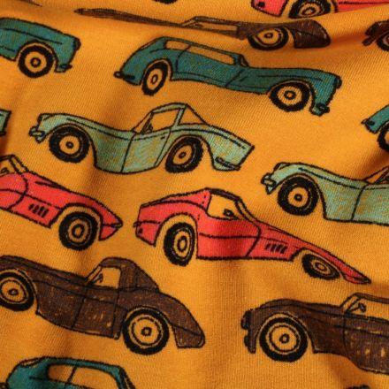 Tissu Jersey Coton envers tout doux Automobiles sur fond Jaune - Par 10 cm