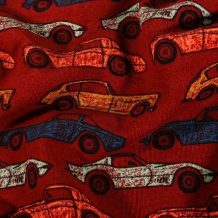 Tissu Jersey coton Automobiles sur fond Rouge - Par 10 cm