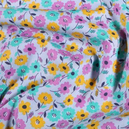 Tissu Coton imprimé Fleurs Vinties sur fond Bleu - Par 10 cm