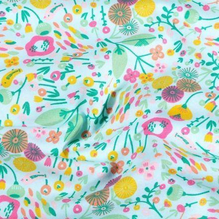 Tissu Coton imprimé Prairie fleurie sur fond Bleu - Par 10 cm