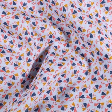 Tissu Coton imprimé Bouquets de fleurs sur fond Bleu ciel - Par 10 cm