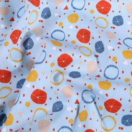 Tissu Coton imprimé Agrumes sur fond Bleu - Par 10 cm