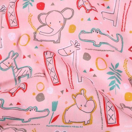 Tissu Coton imprimé Bébé animaux sur fond Rose - Par 10 cm