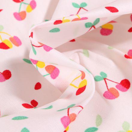 Tissu Coton enduit Cerises multicolores sur fond Blanc