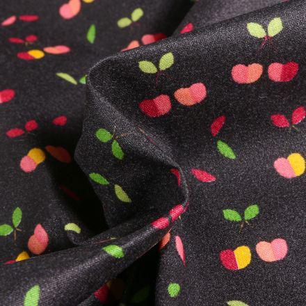 Tissu Coton enduit Cerises multicolores sur fond Noir