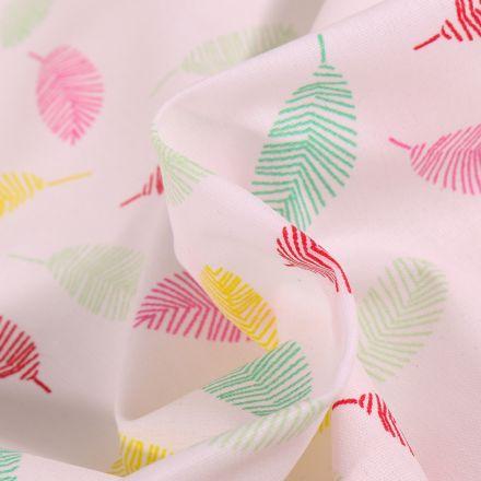 Tissu Coton enduit Feuilles multicolores sur fond Blanc
