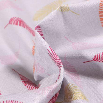 Tissu Coton enduit Feuilles multicolores sur fond Gris clair