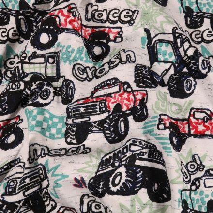 Tissu Jersey Coton Course de 4x4 sur fond Gris chiné - Par 10 cm