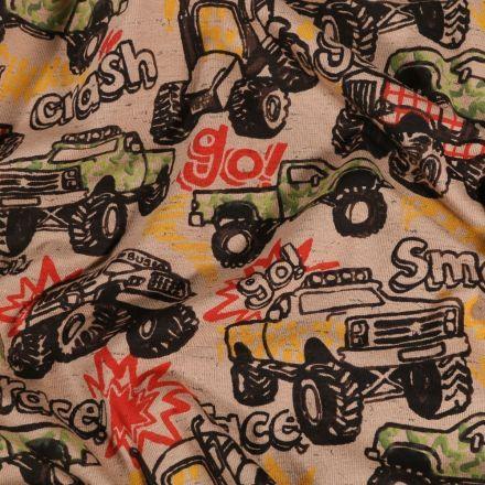 Tissu Jersey Coton Course de 4x4 sur fond Beige - Par 10 cm
