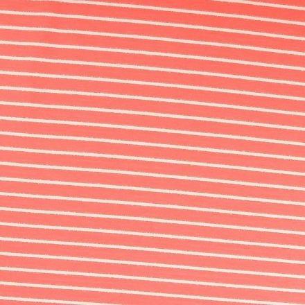 Tissu Sweat léger Rayures blanc cassé et lurex doré sur fond Corail - Par 10 cm