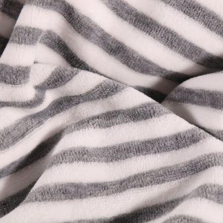 Tissu Jersey Velours Coton Rayures grises sur fond Blanc - Par 10 cm