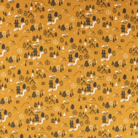 Tissu Jersey envers molletonné Bivouac en foret sur fond Moutarde - Par 10 cm