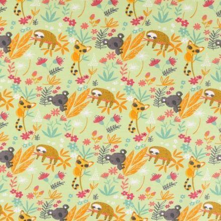 Tissu Jersey coton Bio envers molletonné  Paresseux  et koala fleuris sur fond Vert clair - Par 10 cm