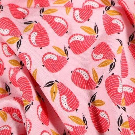 Tissu Jersey Coton Poire Pop sur fond Rose - Par 10 cm