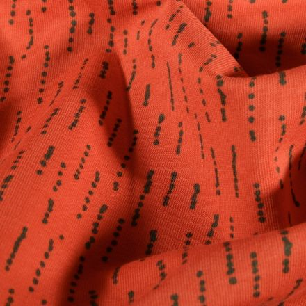 Tissu Jersey coton envers gratté Pointillés sur fond Orange - Par 10 cm