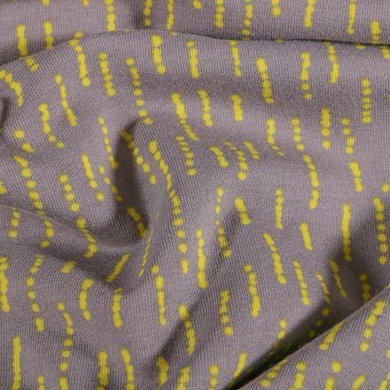 Tissu Jersey coton envers gratté Pointillés anis sur fond Gris - Par 10 cm