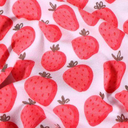 Tissu Jersey Coton envers gratté Fraises Lurex sur fond Blanc - Par 10 cm