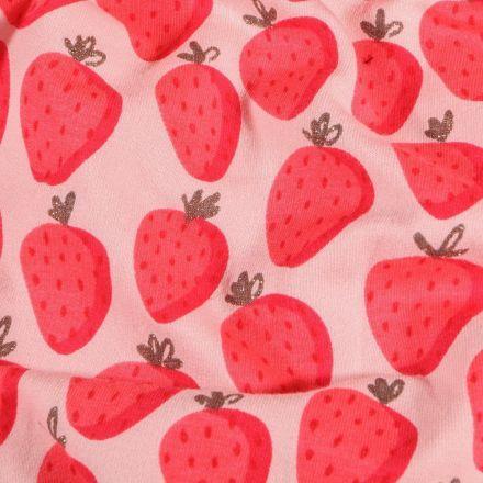 Tissu Jersey Coton envers gratté Fraises Lurex sur fond Rose - Par 10 cm