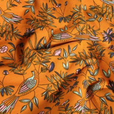 Tissu Jersey Coton Oiseaux et feuillages sur fond Jaune - Par 10 cm