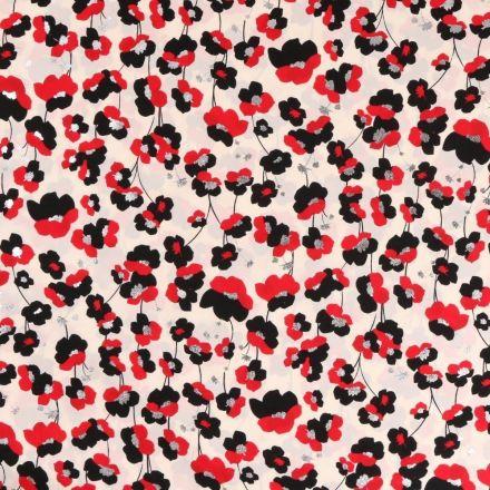 Tissu Satin imprimé Fleurs rouge noir et argent sur fond Blanc cassé - Par 10 cm