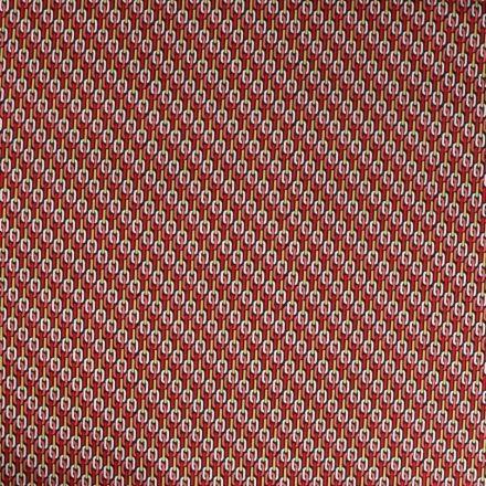 Tissu Satin imprimé Motif chaîne rose et blanc sur fond Noir - Par 10 cm