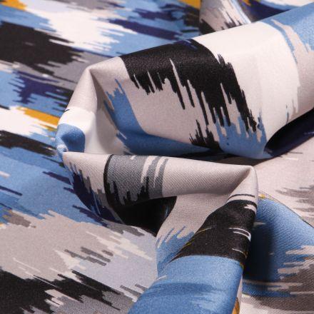 Tissu Satin imprimé Multicolores sur fond Bleu