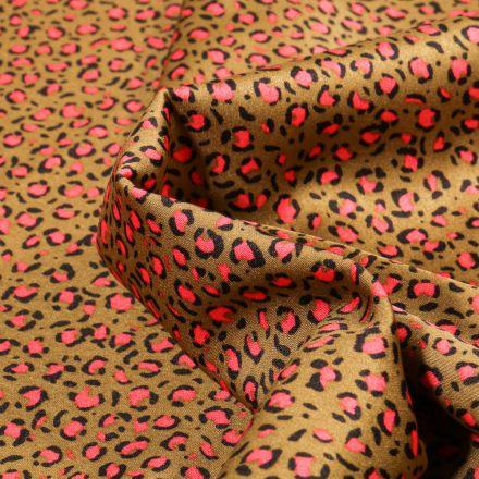 Tissu Satin imprimé Tache léopard sur fond Bronze