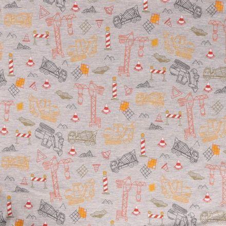 Tissu Jersey Coton Engins de chantier multicolore sur fond Gris chiné - Par 10 cm