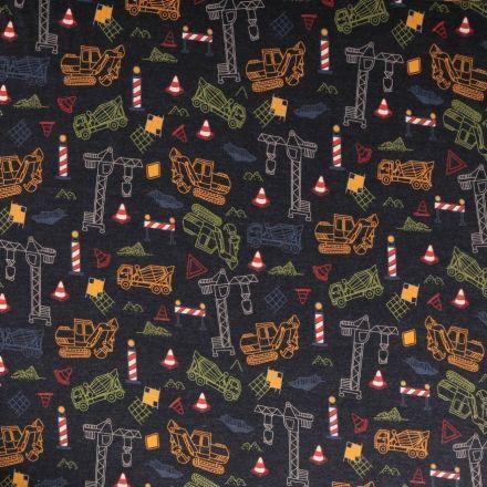 Tissu Jersey Coton Engins de chantier multicolore sur fond Bleu marine chiné - Par 10 cm