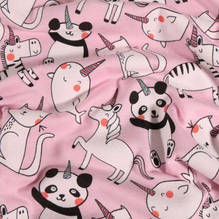 Tissu Jersey Coton Animaux Licornes sur fond Rose - Par 10 cm