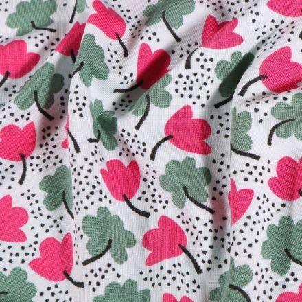 Tissu Jersey Modal Trèfles kaki et fuchsia sur fond Blanc - Par 10 cm