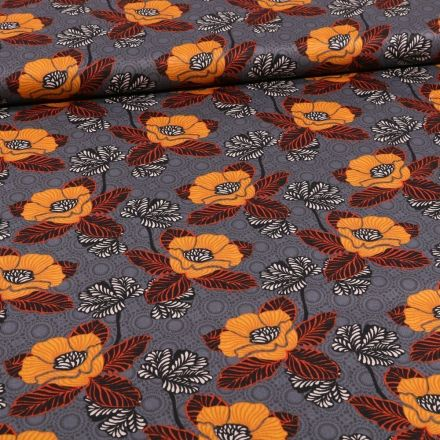 Tissu Coton imprimé Fleurs et cercles sur fond Gris - Par 10 cm