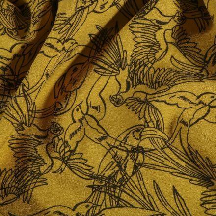 Tissu Crêpe stretch Esquisses d'oiseaux sur fond Jaune - Par 10 cm
