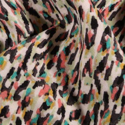 Tissu crêpe imprimé Motifs abstrait corail sur fond Blanc cassé - Par 10 cm