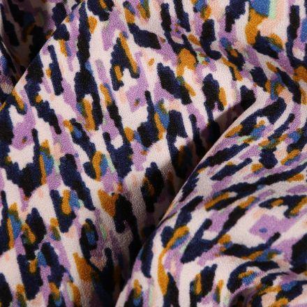 Tissu crêpe imprimé Motifs abstrait violet sur fond Blanc cassé - Par 10 cm