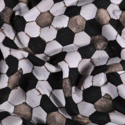 Tissu Jersey Coton Football sur fond Blanc - Par 10 cm