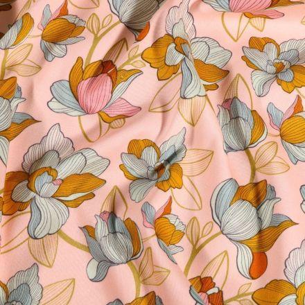 Tissu Coton imprimé extensible Fleurs ocre sur fond Rose nude - Par 10 cm