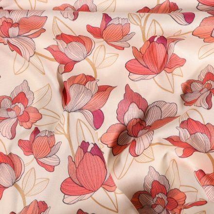 Tissu Coton imprimé extensible Fleurs rose et corail sur fond Blanc - Par 10 cm