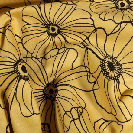 Tissu Coton imprimé extensible Fleurs dessinées sur fond Jaune - Par 10 cm