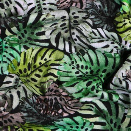 Tissu Jersey Coton Feuilles de Monstera vertes sur fond Noir - Par 10 cm