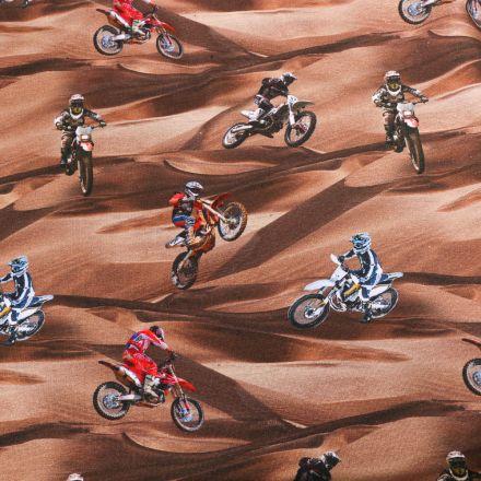 Tissu Jersey Coton Motocross sur fond Marron