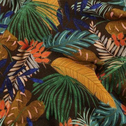 Tissu Toile de coton Feuilles de palmier sur fond Marron - Par 10 cm