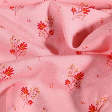 Tissu Viscose imprimé Branches fleuris sur fond Rose - Par 10 cm