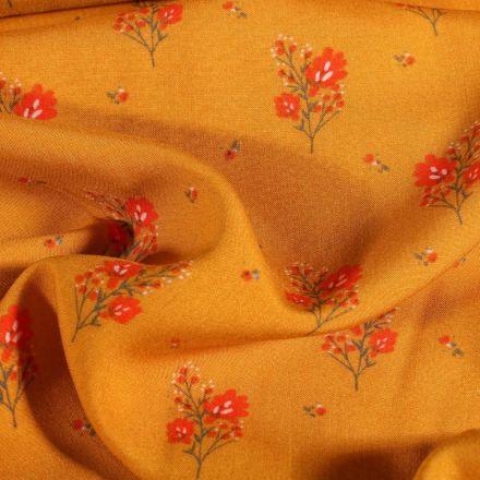 Tissu Viscose imprimé Branches fleuris sur fond Jaune curcuma - Par 10 cm