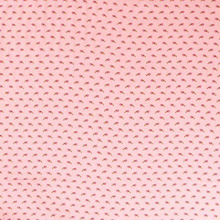 Tissu Viscose  Petites fleurs rouge et doré sur fond Rose - Par 10 cm