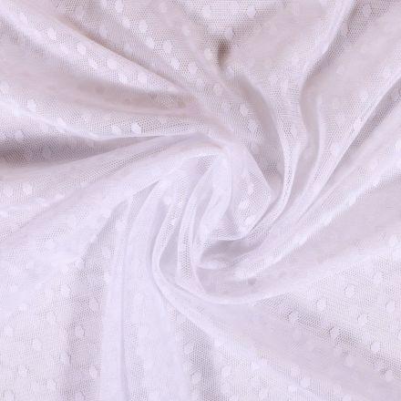 Tissu Tulle Souple Blanc Pois - Au mètre