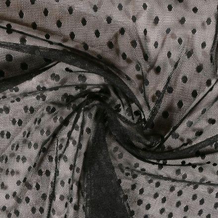 Tissu Tulle Souple Noir Pois - Au mètre